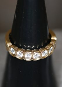 Damen Goldring, 585 Gold, Diamanten